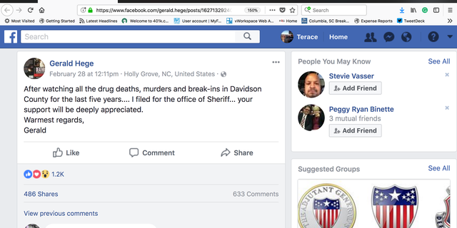 Gerald Hege announces his run for sheriff. Lexington, N.C.