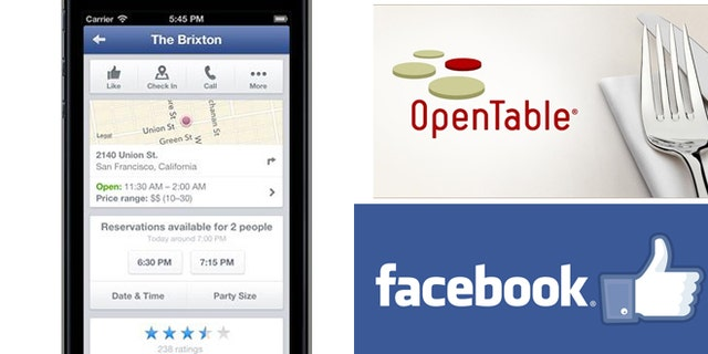 A new Facebook mobile iOS app allows you to make restaurant reservations on OpenTable without opening a separate website.