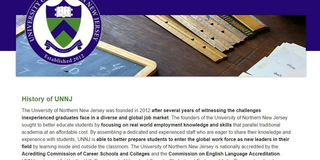 The fake university's website included details of its short history.