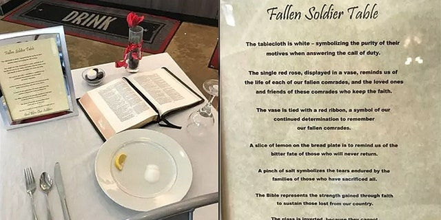 Slim Chickens in Longview, Texas set up a similar display for fallen soldiers.