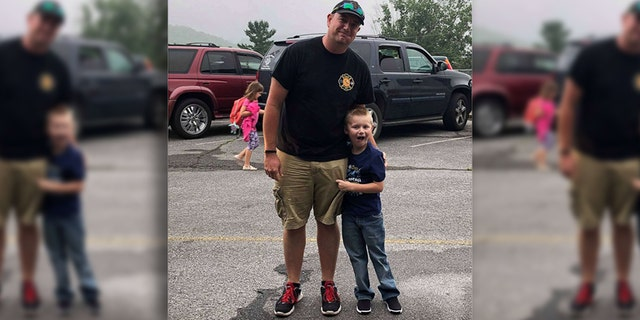 Cooper was accompanied by his dad's colleagues, Assistant Fire Chief Josh Kemp and firefighter Ty Wallace.
