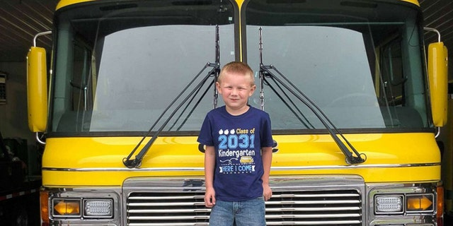 Cooper was smiling ear to ear after riding in the fire truck, according to his mom.