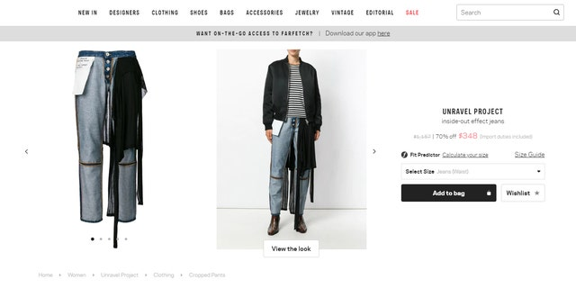 """Parisian streetwear brand Ben Taverniti Unravel Project is now selling high-end slacks billed as """"inside-out effect jeans."""""""