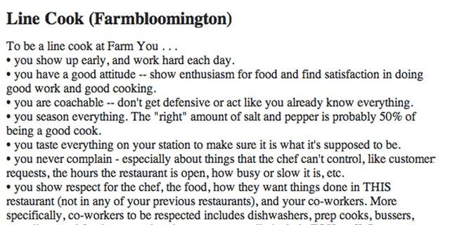 Line cook job posting from FARMBloomington posted on Craigslist.