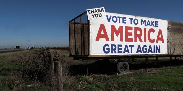 A Donald Trump sign along a highway near Los Banos, California.