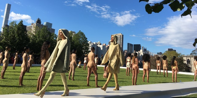 Models wearing the Yeezy Season 4 collection by Kanye West during a fashion show in 2016 on Roosevelt Island in New York City.