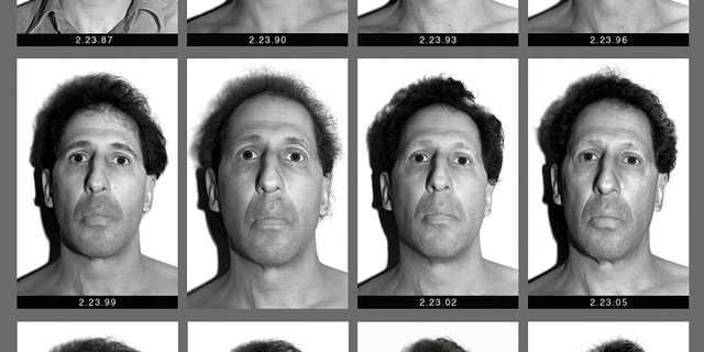 """This panel of black and white self-made photographs provided by Karl Baden shows Baden over the last three decades beginning Feb. 23, 1987, top left, through Feb. 21, 2017, lower right. The Boston College professor's """"Every Day"""" project has chronicled his visage in nearly 11,000 photos in various locations with the same lighting and background each day for thirty years. He intends to do it the rest of his life. (Karl Baden via AP)"""