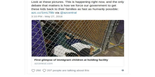 "Former Obama speechwriter Jon Favreau tweeted one of the pictures showing kids in enclosed cages, noting that ""this is happening right now"" and criticized the government for neglecting the children."