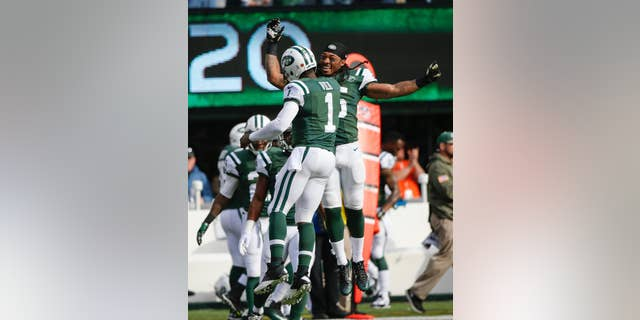 New York Jets quarterback Michael Vick (1) celebrates a touchdown with Calvin Pryor during the first half of an NFL football game against the Pittsburgh Steelers, Sunday, Nov. 9, 2014, in East Rutherford, N.J. (AP Photo/Kathy Willens)