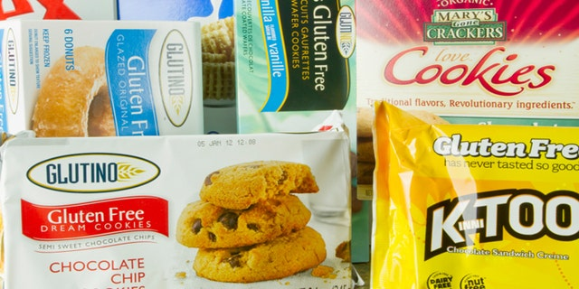 San Diego, California, United States - December 19, 2011: Eight Gluten Free Certified Products shot in a Studio Setting. Celiac Disease sufferers must consume gluten free or wheat, barley, rye free meals in order to avoid the severe side-effects of the disease. Many of these products also are GMO Free in their composition.