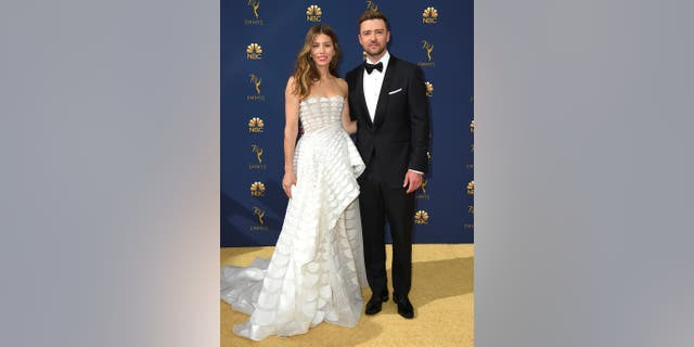 Jessica Biel and Justin Timberlake arrive at the 70th Primetime Emmy Awards on Sept. 17, 2018, at the Microsoft Theater in Los Angeles. (Photo by Jordan Strauss/Invision/AP)
