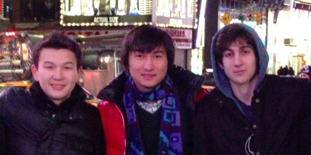 Azamat Tazhayakov, left, Kadyrbayev, center, and Dzhokhar Tsarnaev are seen in this undated photo. Tazhavakov was convicted of obstructing justice in the bombing investigation.