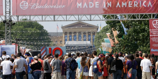 Fans crowd outside of the 'Made in America' festival in Philadelphia.