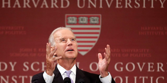 Democrats welcome: Vice President Joe Biden speaks to students, faculty and staff at Harvard University's Kennedy School of Government in Cambridge, Mass. (File photo)