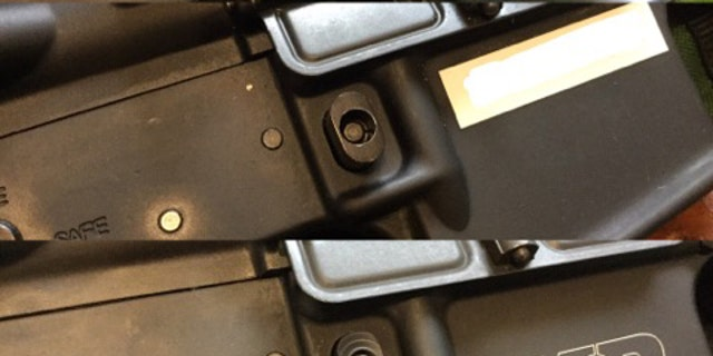 "Comparison of California ""bullet button"" (top) and  ""featureless"" pattern (bottom) magazine releases."