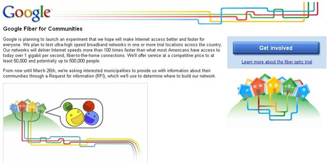 A screen capture of Google's Fiber for Communities Web site, where the company hopes to select areas for its new network.