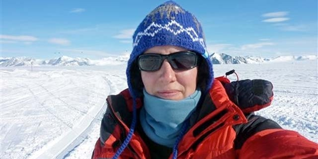 Nov. 19, 2011: Felicity Aston takes a picture of herself at Union Glacier days before she traveled to her starting point on the Ross Ice Shelf for a solo trek across Antarctica.