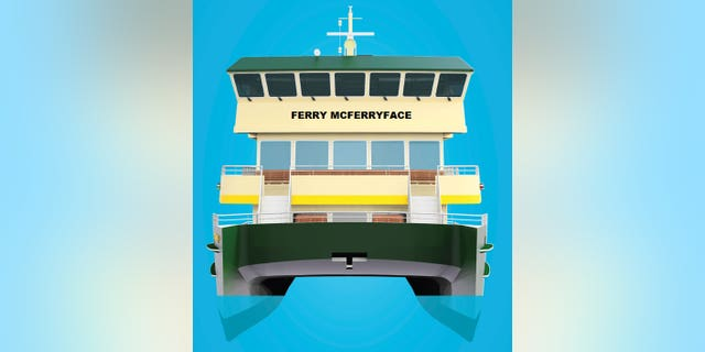 This undated artist's drawing shows the design of the last ferry in a new Sydney Harbour fleet, which will be christened Ferry McFerryface.