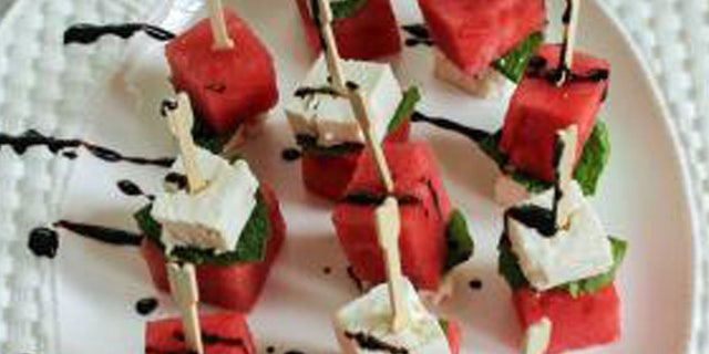What a festive way to serve up a watermelon appetizer.