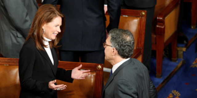 Bachmann, left, said Tuesday she's considering running for the recently vacated Senate seat once held by Al Franken, right.