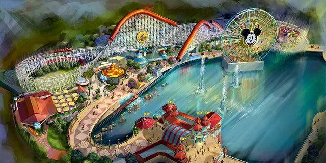 An illustrated bird's eye view of the planned Pixar Pier.