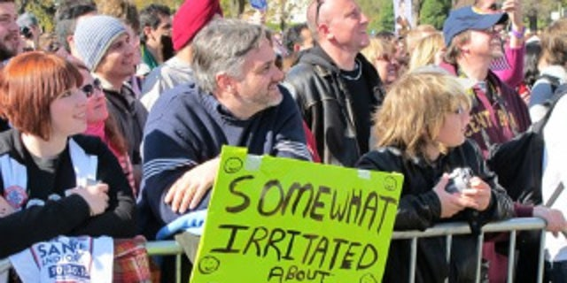 """Fans gather for Comedy Central's """"Rally to Restore Fear and/or Sanity"""" on the National Mall Saturday. (Fox News Photo)"""