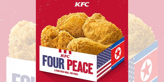 """KFC's """"Four Peace"""" meal includes four pieces of fried chicken, two whipped potatoes, two coleslaws and two beverages, and is available only to Trump and Kim."""