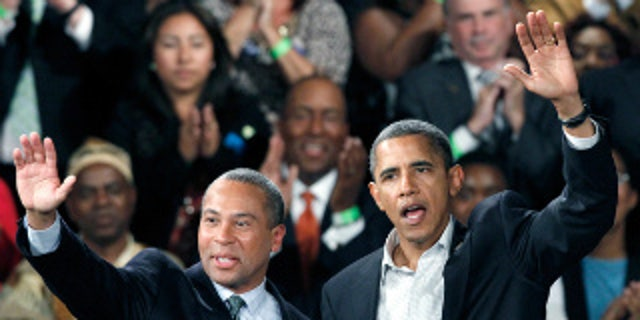 President Barack Obama appears with Massachusetts Governor Deval Patrick (D) at a Boston campaign rally Saturday. (AP Photo)