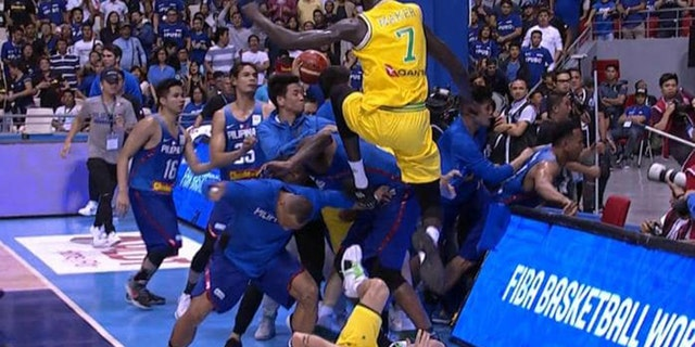 Australia's Thon Maker appeared to throw flying knees during the brawl.