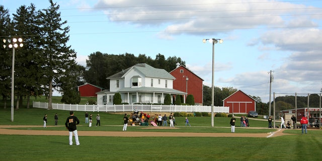 """In this 2014 file photo, teams play at the """"Field of Dreams"""" during a fall tournament in Dyersville, Iowa."""