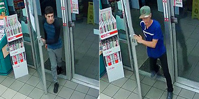 Police say the men also robbed a second gas station unmasked.