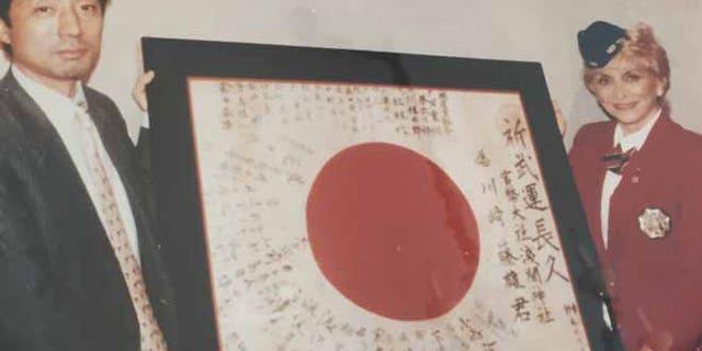 Japanese soldier Fujio Kawasaki's battle flag. (Tess McCormack)