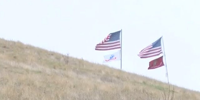 The flags off Interstate 80 near Vacaville, Calif. are more than just a sign of patriotism.