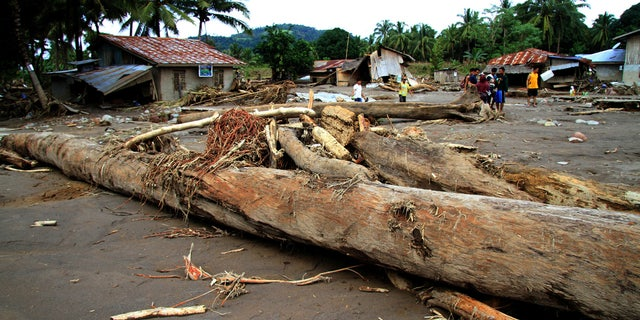 Logs swept by flash floods lie in a village in Salvador, Lanao del Norte in southern Philippines, Dec. 24, 2017.