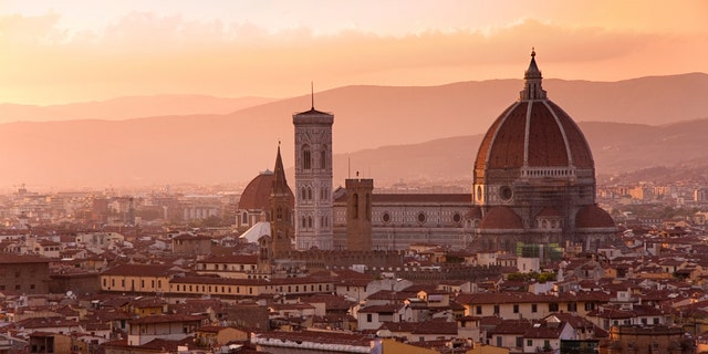 Florence skyline at sunset, Italy. Campanile di San Marco
