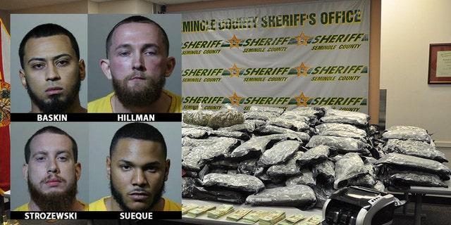 Kadin Baskin, Craig Hillman, Michael Strozewski, and Angelo Sueque were arrested after Florida sheriffs found 430 pounds of marijuana.