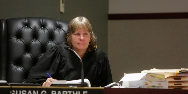 Circuit Court Judge Susan Barthle listens during Curtis Reeves' hearing at the Robert D. Sumner Judicial Center in Dade City, Fla., Tuesday, Feb. 28, 2017. Defense attorneys for the retired Tampa police captain accused of shooting a man in a movie theater are continuing to present their case to a judge during a so-called Stand Your Ground hearing. (Octavio Jones/Tampa Bay Times via AP, Pool)