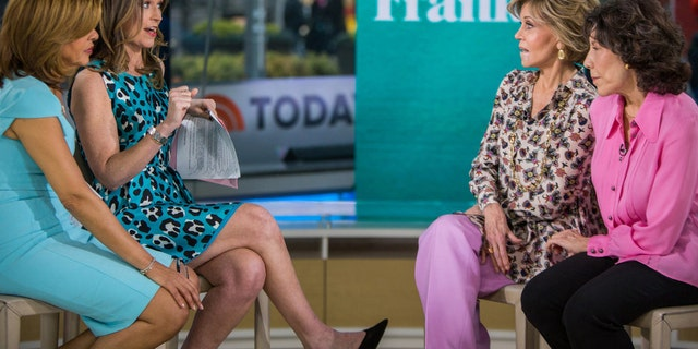 From l-r: Hoda Kotb and Savannah Guthrie interview Jane Fonda and Lily Tomlin on Jan. 16, 2018.