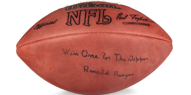An NFL football signed by President Ronald Reagan