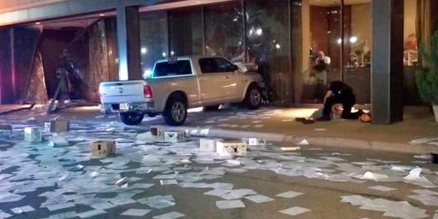 Michael Chadwick Fry was detained at right after crashing his pickup truck into the side of the Fox 4 station building in downtown Dallas on Wednesday.