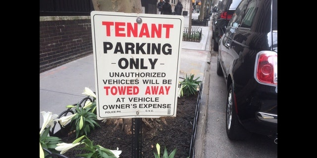 Fake no parking signs are seen outside Madonna's townhome on the Upper East Side of New York City. (FOX 5 NY)