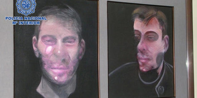 In this photo released by the Spanish Interior Ministry on Saturday, May 28, 2016, one the five paintings by the Irish-born painter Francis Bacon recovered by the Spanish Police, is displayed. Spanish police say they have arrested seven people suspected of involvement in stealing five paintings by painter Francis Bacon worth 25 million euros ($27.8 million). (Spanish Interior Ministry via AP)