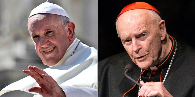The Vatican says it is preparing a response to claims that Pope Francis, left, covered up the sexual misconduct of a now-disgraced American Cardinal Theodore McCarrick.