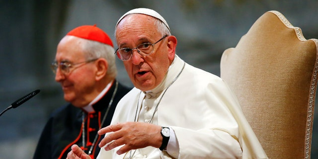 June 16, 2016: Pope Francis talks during the opening of a meeting of Rome's diocese in Saint John Lateran basilica in Rome, Italy.