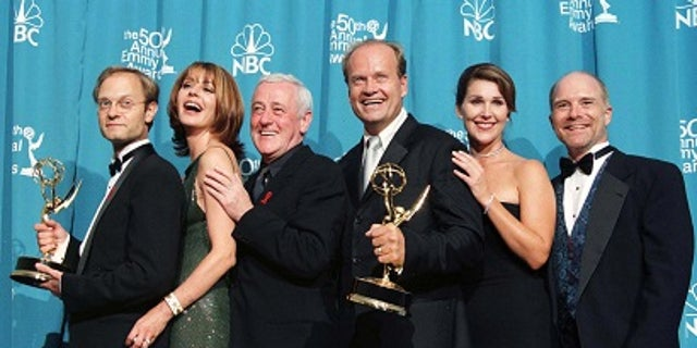 "John Mahoney (third from left) receieved two Emmy and Golden Globe nominations for his role on ""Frasier."""