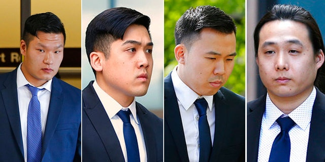From left to right: Raymond Lam, Sheldon Wong, Kenny Kwan and Charles Lai are scheduled to be sentenced Monday.