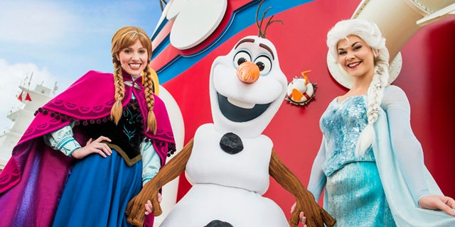 """Beginning in summer 2015, Disney Cruise Line guests can immerse themselves in the animated hit """"Frozen"""" with brand-new experiences inspired by the film, including a spectacular deck party, a three-song stage show production number, new character meet and greets, storybook adventures ashore and more. (Matt Stroshane, photographer)"""