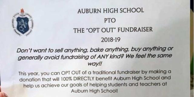 "Alabama mom Briana Leggett Woods praises Auburn High School's new ""opt out"" fundraising option."