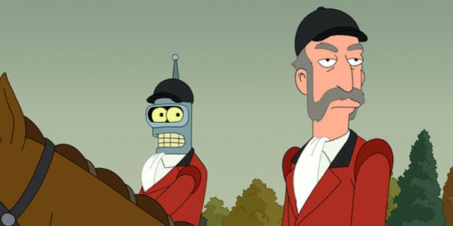 """""""Star Trek: The Next Generation"""" alum Patrick Stewart plays a character called the Huntmaster (right) in a season seven episode of """"Futurama."""""""