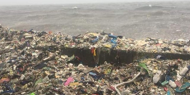 Waves of garbage are seen in the Philippines' Manila Bay.